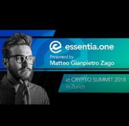 Matteo Zago Essentia One at Crypto Summit 2018 in Zurich