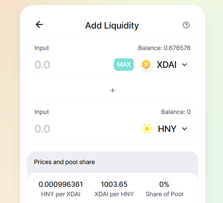 Add liquidity to hny xdai pool on honeyswap