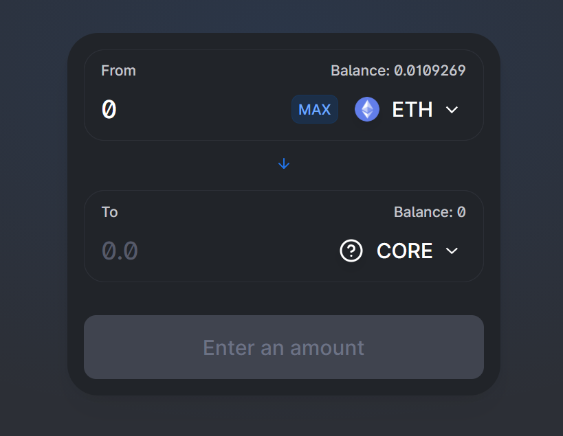 Buy core tokens on uniswap