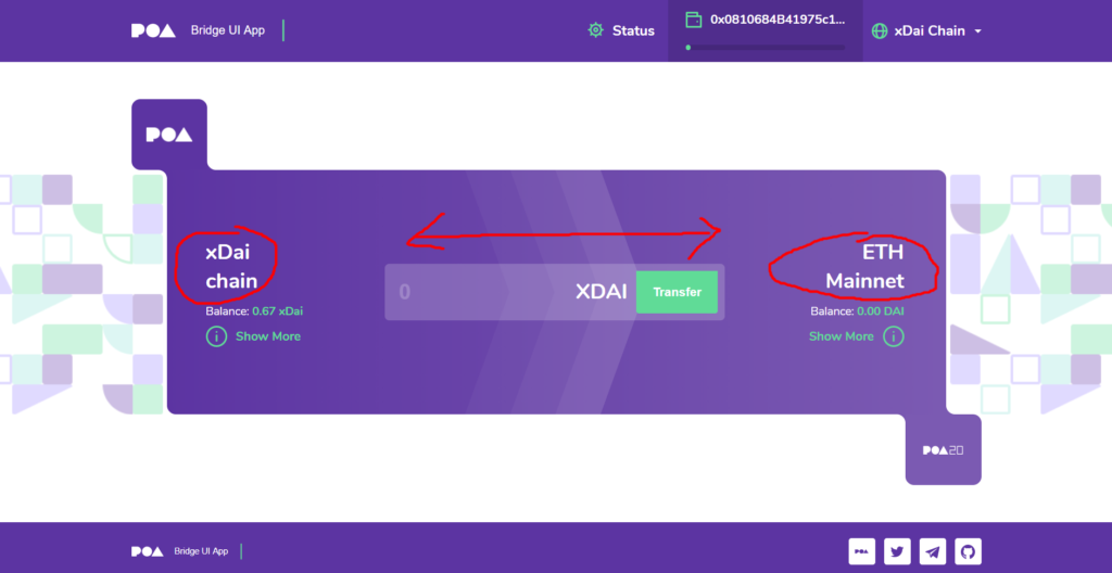 Transfer from Eth main net to xdai chain