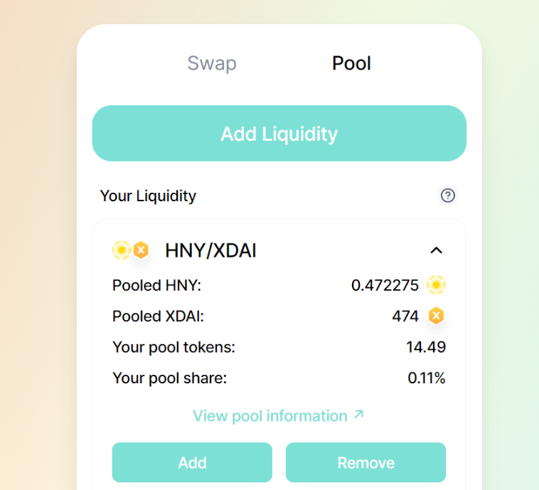 proof you provided liquidity on honeyswap