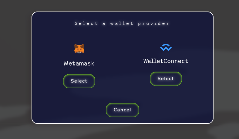 Choose wallet velo token step 1 intrsuctions