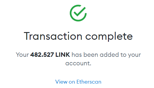 Tokenswap MetaMask transaction complete